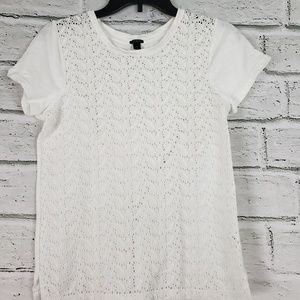 J. Crew cotton crocheted front tee shirt